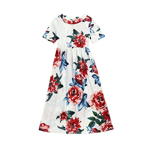 Fashion Toddler Kid Baby Girl Flower Print Princess Party Long Dress Outfits Clothes 2-10 Years (White, 8T)