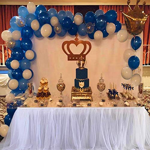 Balloon Arch & Garland Kit | 100 Royal Blue & Light Blue & White Latex Balloons,Gold Confetti Balloons | Balloon Arch & Garland Strip Tool | Baby Shower Birthday Party Decorations ()