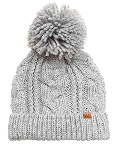 MIRMARU Kids Youth Boys & Girls Ages 7-12 Winter Thick Stretchy Cable Knitted Pom Pom Beanie Hat
