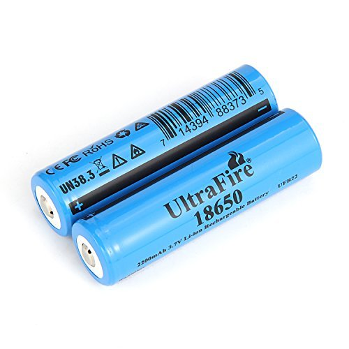 UltraFire 18650 Battery 2200mAh MAX 3.7V Rechargeable Battery Li-ion Button Top Battery (2 Pack)