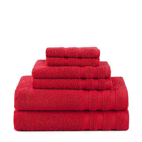 EGYPTIAN COTTON DRYFAST 6 PIECE TOWEL BY MARTEX - 2 Bath Towels, 2 Hand Towels, 2 Wash Cloths - Premium, Luxurious, Top Hotel Quality - Soft, Absorbent, Machine Washable, Quick Drying - Red ()