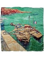 Dahlia Women's 100% Luxury Square Silk Scarf - Van Gogh's Painting Collection