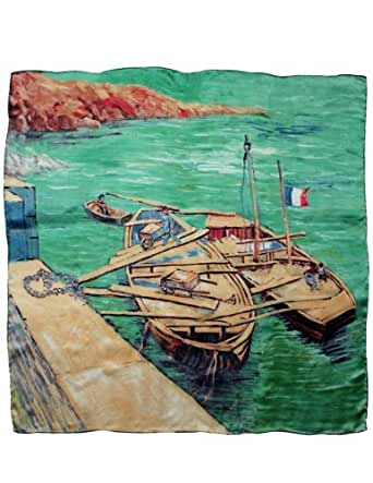 """Dahlia Women's 100% Square Silk Scarf Van Gogh """"Landing Stage with Boats"""" - Blue"""