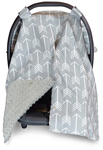 Image of the 2 in 1 Carseat Canopy and Nursing Cover Up with Peekaboo Opening | Large Infant Car Seat Canopy for Boy or Girl | Best Baby Shower Gift for Breastfeeding Moms | Arrow Pattern with Grey Minky