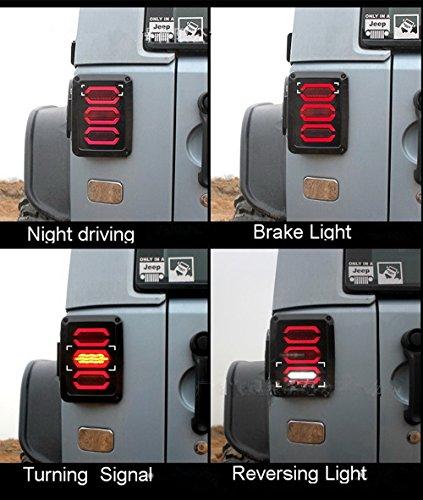 Smoked Led Rear Lights (Autvivid 2X Smoked LED Taillight Rear Back Bumper Light Parking Back up Reverse Brake Lamp for 2007-2018 Jeep Wrangler JK 1 Year Warranty (Diamond))