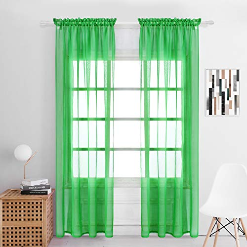 Selectex Solid Color Linen Look Semi-Sheer Curtains - Rod Pocket Voile Curtains for Living and Bedroom, Set of 2 Curtain Panels(54 x 72 Inch, - Solid Voile