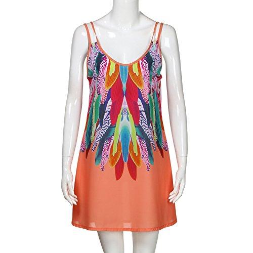 Women's Summer Boho Casual Printed Maxi Party Cocktail Beach Dress Sundress N30,Orange,L - Caress Neck Satin