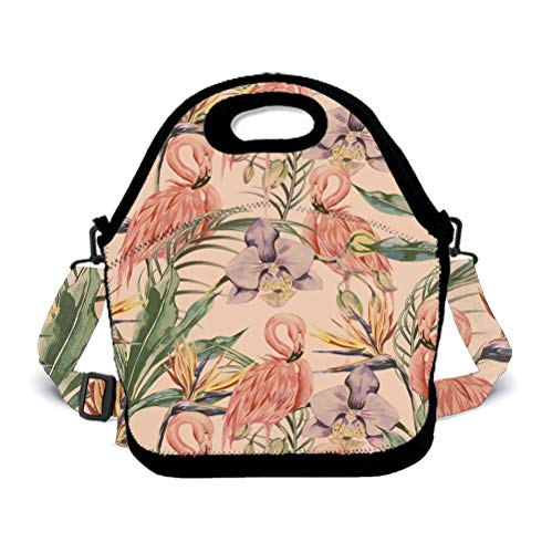 Premium Neoprene Flowers Flamingo Palm Leaf Lunch Box women Totebag Insulated Interior WaterproofGourmet Tote Pouch for Meal Prep, Reusable Container - Moisture Resistant (Hours Boston Market Flower)
