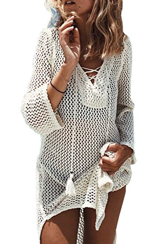 (Wander Agio Beach Swimsuit for Women Sleeve Coverups Bikini Cover Up Net White Beige)