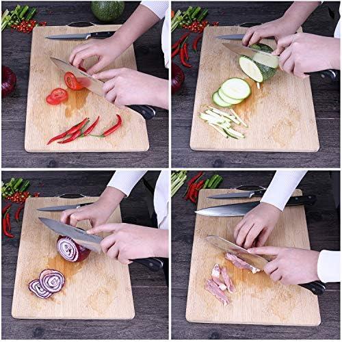 homgeek Couteaux de Cuisine, 15 Pièces Professionnel Set de Couteaux, Fabriqué en Acier Inoxydable Allemand X50Cr15 Bloc de Couteaux, Comprend Pierre à Aiguiser, Ciseaux et Bois