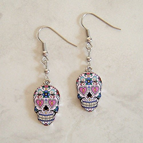 Multi Color Sugar Skull Flower Heart Enamel Charm Stainless Steel Earrings Day Of The Dead Gift Idea (Enamel Mardis Gras Charm)