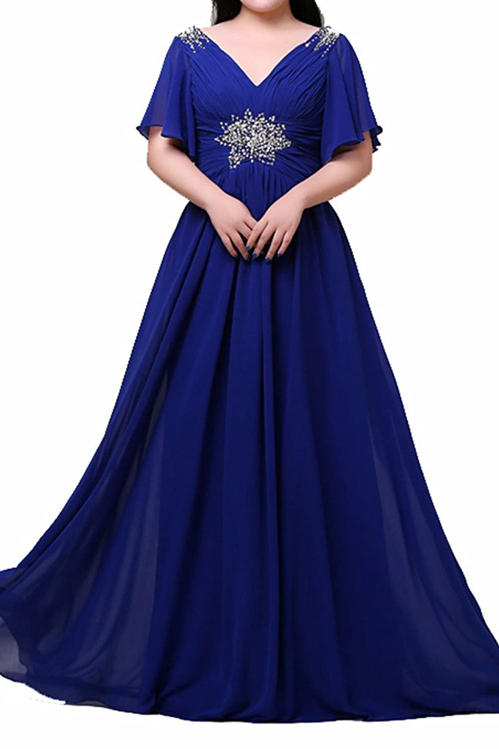 Charm Bridal Royal Blue Bride's Mother Plus Size Prom Dresses 2016 with Sleeve