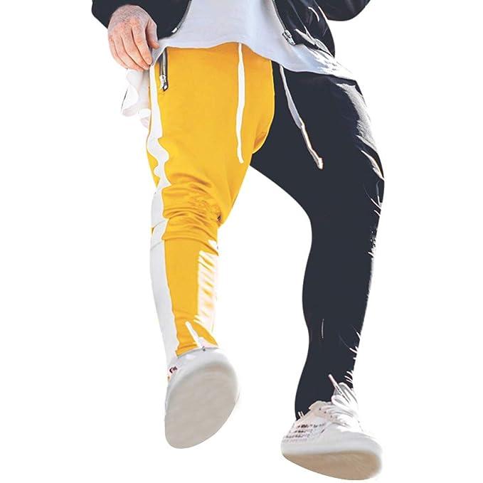 00b246f833ac7 Pantalones de Costura para Hombre Pantalones Deportivos Hip Hop Pantalón  para Hombre Casual Jogging Algodón Cremallera con Pantalones Deportivo  Casual ...