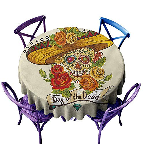 - LOVEEO Round Outdoor Tablecloth,Sugar Skull Skull in a Sombrero Traditional Mexican Culture Theme Roses Day of The Dead,Modern Minimalist,70 INCH Multicolor