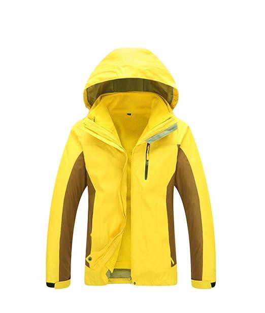 WanYangg Chaqueta Impermeable De Montaña 3 En 1 para Mujer, Chaquetas De Alpinismo con Capucha Ajustable Y Desmontable Forro Fleece Doble Capa Abrigo ...