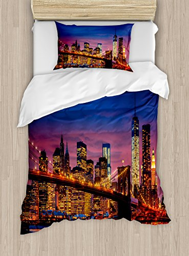 Ambesonne New York Duvet Cover Set Twin Size, NYC That Never Sleeps Reflections on Manhattan East River City Image Photo Print, Decorative 2 Piece Bedding Set with 1 Pillow Sham, (Manhattan Twin Bed)