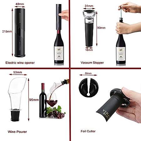 Sacacorchos eléctrico, Profesional Automatico abridor de vino electrico4 en 1, Abridor de Vino Electrico con Cortacápsulas, Vertedor, Tapón de Vino de Vacío