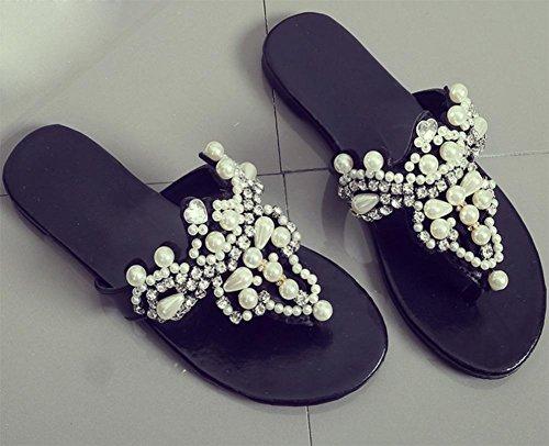 Flops und weiblichen Strass Sandalen Flip Sandalen Black flache rutschfeste Pantoffeln Sommer 6ZwCzq
