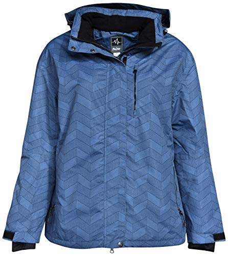 Pulse Women's Plus Size Extended Insulated Bevel Snow Ski Jacket (1X (16/18), Blue ()