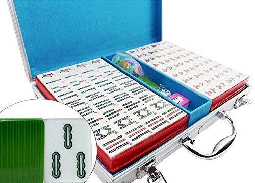 グリーンパターン中国番号付きタイル麻雀セット。ゲームセット/ボードゲーム/ギフト/誕生日ギフト( mAh Jong、Mahjongg、mah-jongg、ありなし、Majiang ) Weを支払いSales税金~ g2ブルー