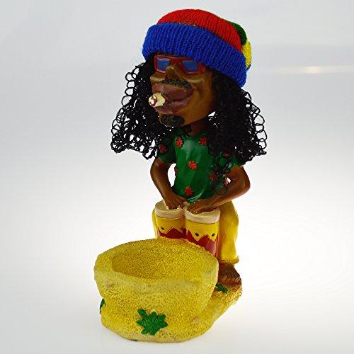 Cigar Head (Rockin Gear Ashtray Rasta Figurine Ashtray - Jamaican Man Bobble Head with Realistic Dreadlock Hair! Collectible - Cigarette Marijuana Weed Hemp Pot Cannabis Party Accessory (Green Drum))