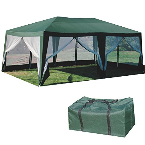 Formosa Covers SUNMART Deluxe Screen House Extra Large Canopy Shade and Mosquito Protection for Everyday Outdoor Entertaining, Camping and Party Tent - Green 12'x20'