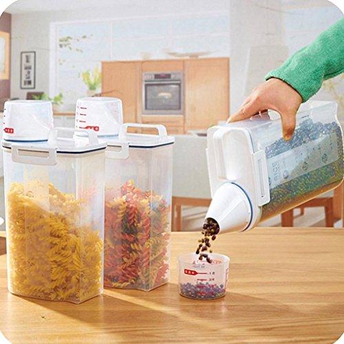 LtrottedJ® - Caja dispensadora de cereales de plástico de 2 L, contenedor de arroz para cocina: Amazon.es: Hogar