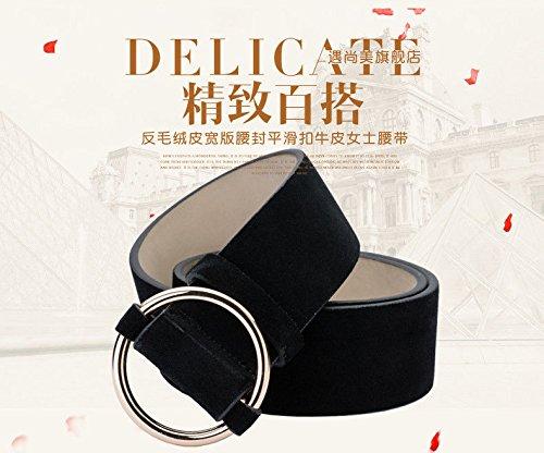 LONFENNE Spring-Summer Scrub Suede Leather Belts Women's Waistbands Waist Seals Leather Wide Belts,black,95cm