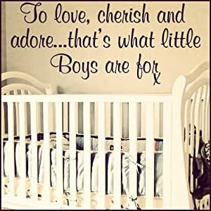 CHILD TO LOVE CHERISH AND ADORE BOYS ART wall quote STICKER TRANSFER vinyl DECAL