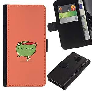 ARTCO Cases - Samsung Galaxy Note 3 III N9000 N9002 N9005 - Cute Funny Cartoon Comic Message Icon - Cuero PU Delgado caso Billetera cubierta Shell Armor Funda Case Cover Wallet Credit Card