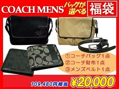 13a90bdaa664 Amazon   コーチメンズ(COACH MENS)バッグが選べる2万円福袋 (ブラック(F70587SV/BK))   ボディバッグ・ワンショルダー
