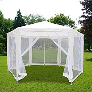 Quictent 11x13 Garden Canopy Party Wedding Tent Gazebo with Nettings Mesh Sidewalls More Fresh Air and No Mosquitoes