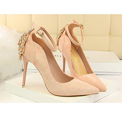 Atractivas Zapatos El De Boda Alto Correa Zapatos Del Trabajo Señoras Declaración Banquete Para Tacón Del La Pink Delgadas Tacón Alto De ShanLy Tobillo De De PUqAI5xgw