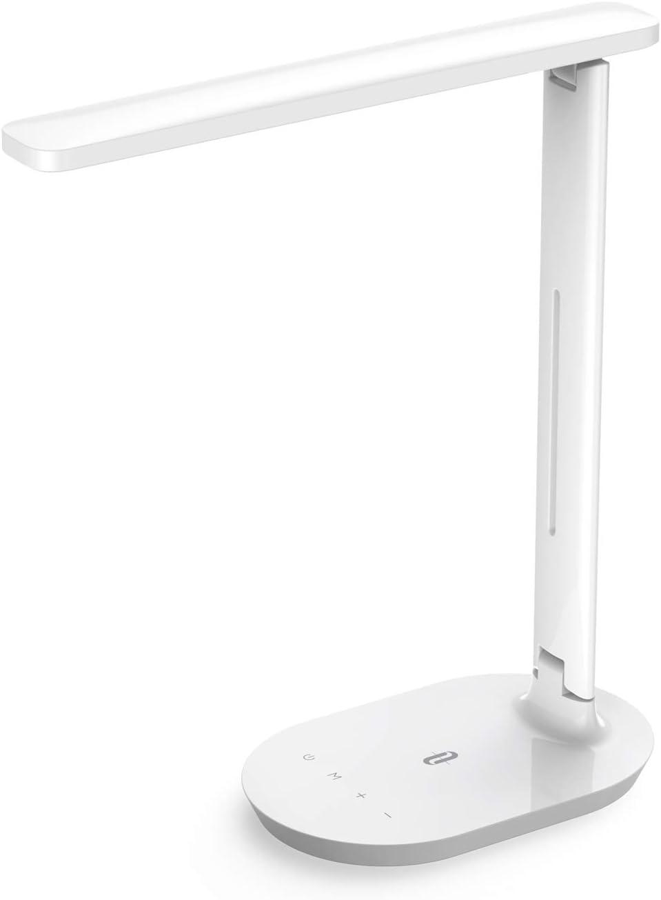 Lámpara Escritorio LED TaoTronics Flexo de Escritorio (5 Niveles de Brillo, 3 Modos, Función de Memoria, Control Táctil) Lámpara de Mesa,Lámpara de Oficina para Leer,Estudiar,Relajamiento,Blanco