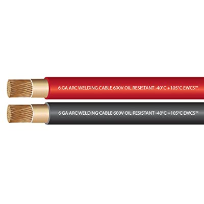 EWCS 6 Gauge Premium Extra Flexible Welding Cable 600 Volt - Combo Pack - 10 Feet Each Black+Red - Made in the USA