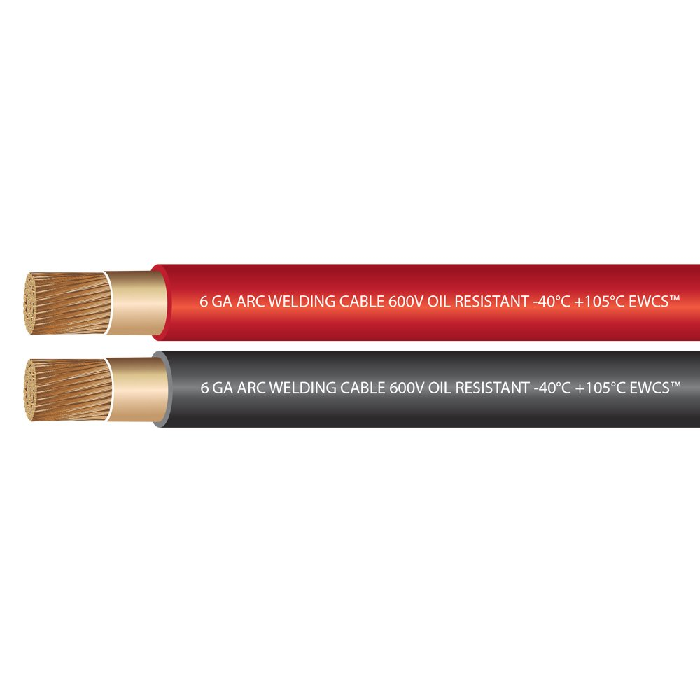 EWCS 6 Gauge Premium Extra Flexible Welding Cable 600 Volt - Combo Pack - 10 Feet Each Black+Red - Made in the USA by EWCS