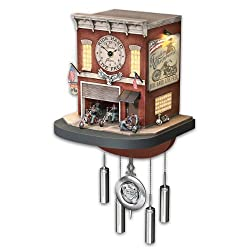 The Bradford Exchange Cuckoo Clock with Lights, Sound, Motion: Freedom Choppers Motorcycle Garage