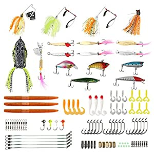 RUNCL Fishing Baits Tackle, Fishing Lures Tackle with Crankbaits, Spinnerbaits, Rubber Worms, Jigs, Topwater Lures, Tackle Box and More Fishing Lures Kit for Saltwater Freshwater Bass Trout Salmon