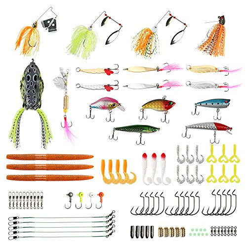 RUNCL Fishing Baits Tackle, Fishing Lures Tackle with Crankbaits, Spinnerbaits, Rubber Worms, Jigs, Topwater Lures, Tackle Box and More Fishing Lures Kit for Saltwater Freshwater Bass Trout Salmon – DiZiSports Store