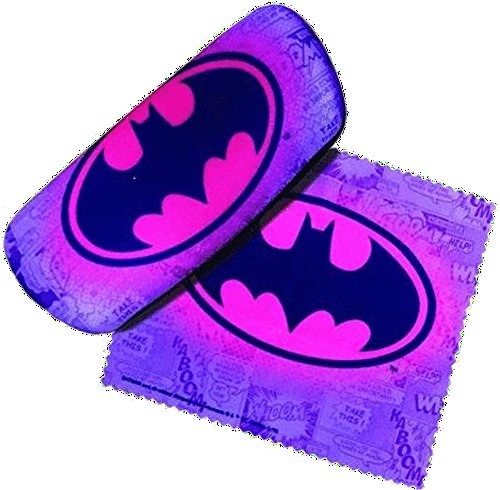 Padded Eyeglass Case with Matching Lens Cloth (Purple Batman)