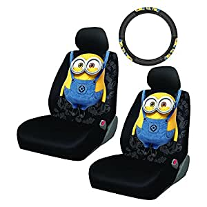 5PC Despicable Me Minion Made Front Low Back Seat Cover Steering Wheel Set