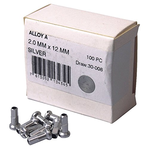DT Swiss 14G Alloy Nipple Spoke (Box of 100), Silver, 2mm