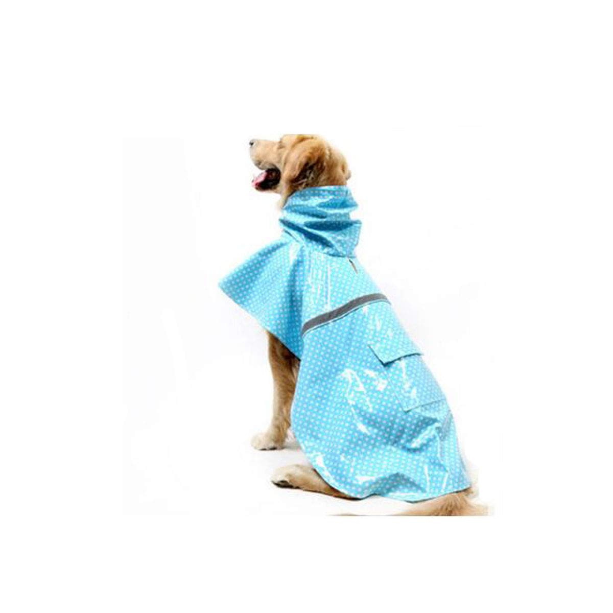 bluee SJinnuotong Pet Dog Raincoat, Large Dog, Patent Leather Dot Pattern Poncho Pretty (color   bluee, Size   S)
