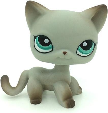 Amazon Com Kenven Littlest Pet Shop Cat 391 Lps Short Hair Egyptian Grey Blue Eyes Toys Games