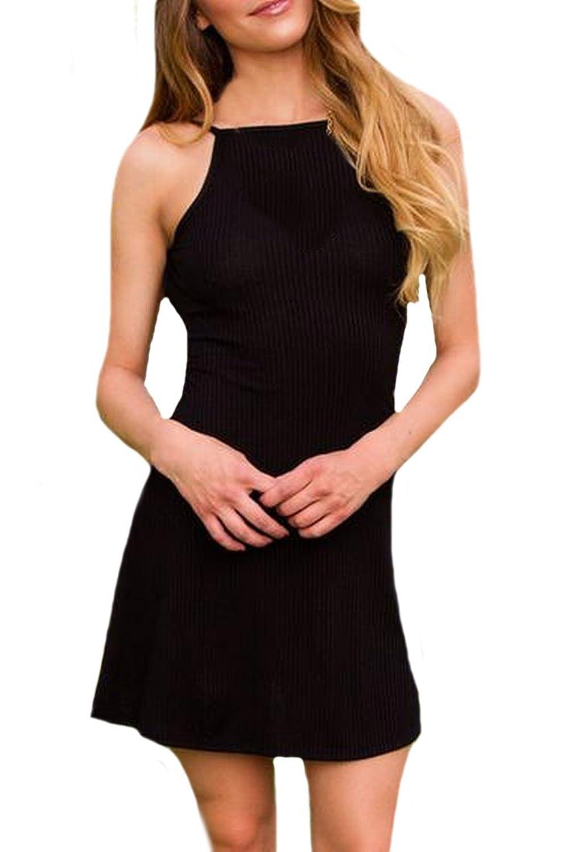 Unko Womens Backless Sexy Slip Dress Evening Party Dress