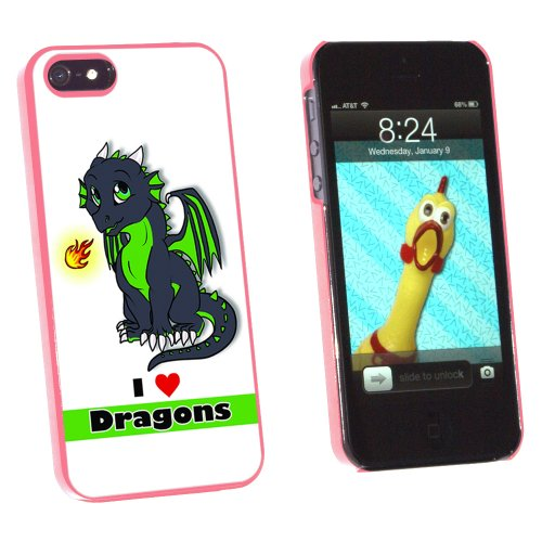 Graphics and More Dragon Baby I Love Heart Dragons Green - Snap-On Hard Protective Case for Apple iPhone 5/5s - Non-Retail Packaging - Pink