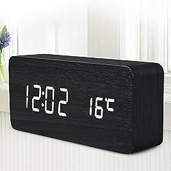 Quality Digital Led Alarm Clock Sound Control Wooden Despertador Desktop Clock Usb/Aaa Powered Temperature Display^White.