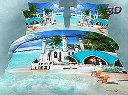 Joybuy Ocean Blue Castle Bedding Set Seaside style Sheet & Pillowcase Sets 4pcs Bedding Set Queen Not Included