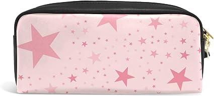Estuche para lápices con diseño de estrellas, color rosa, para adolescentes, con cremallera, para niños y niñas, para la escuela, material de escritura de piel sintética con compartimentos: Amazon.es: Oficina y papelería