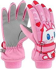 Kids Ski Gloves Waterproof Breathable Warm Winter Snow Mittens Girls Boys
